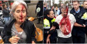 Catalanes golpeados por ir a votar
