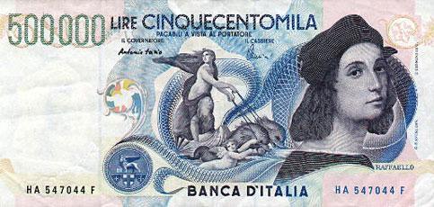 Italia tuvo billetes de 500 mil liras